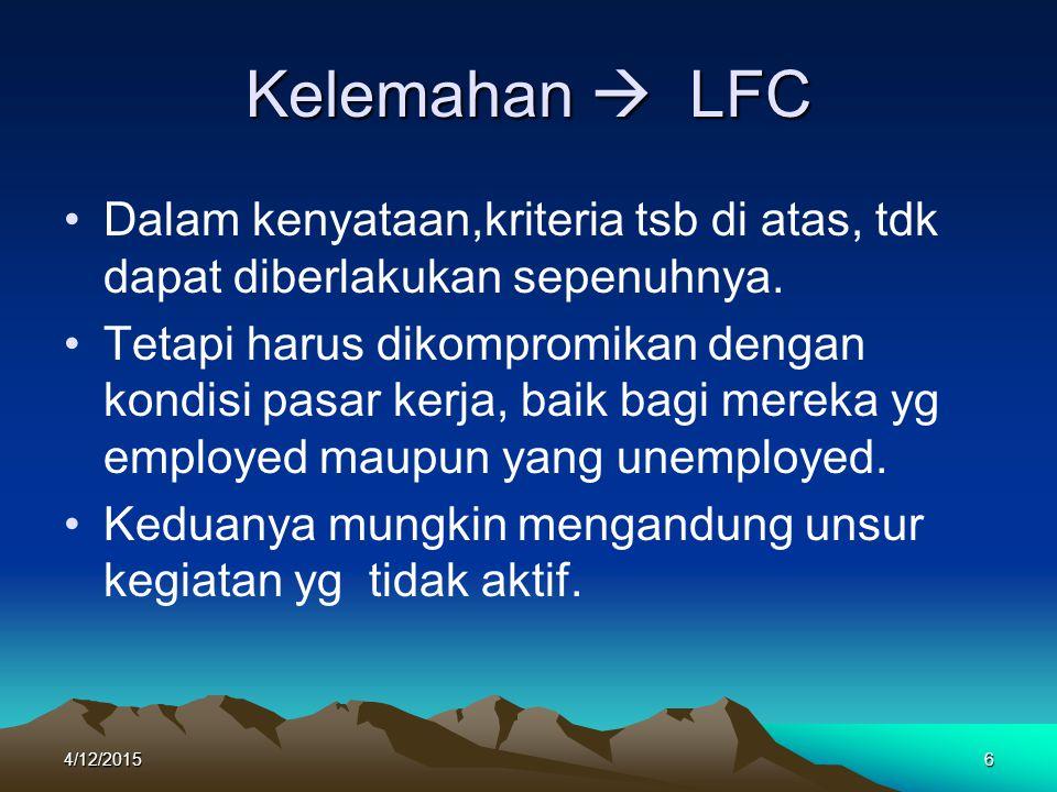 Kelemahan  LFC Dalam kenyataan,kriteria tsb di atas, tdk dapat diberlakukan sepenuhnya.