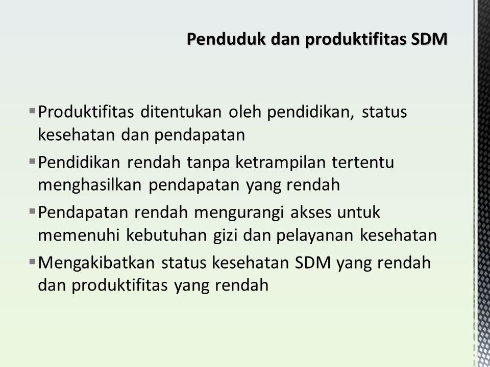 Penduduk dan produktifitas SDM