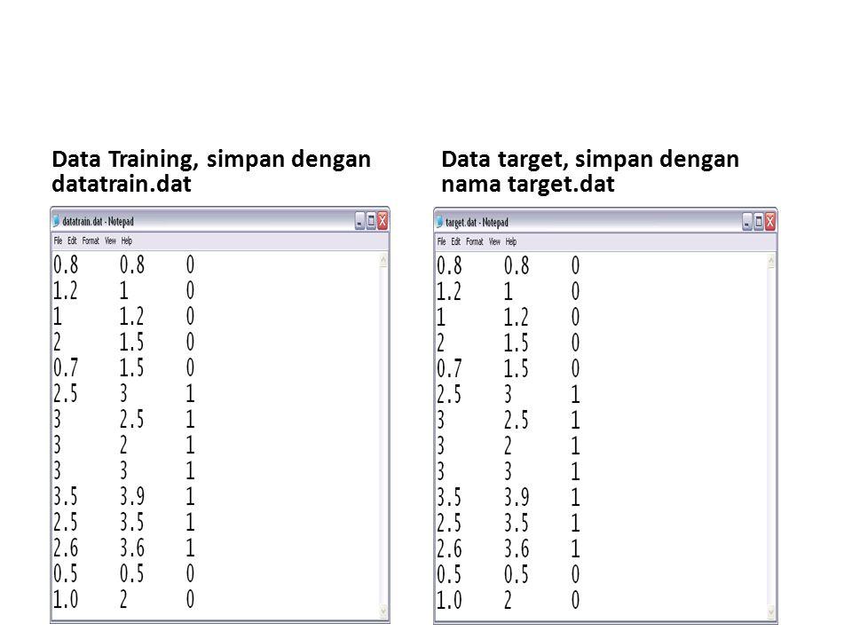 Data Training, simpan dengan datatrain.dat