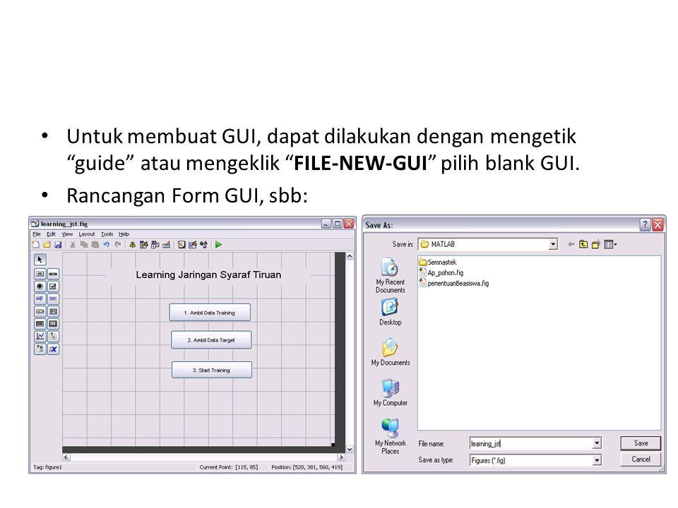 Untuk membuat GUI, dapat dilakukan dengan mengetik guide atau mengeklik FILE-NEW-GUI pilih blank GUI.