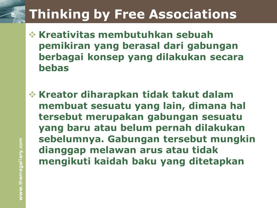 Thinking by Free Associations
