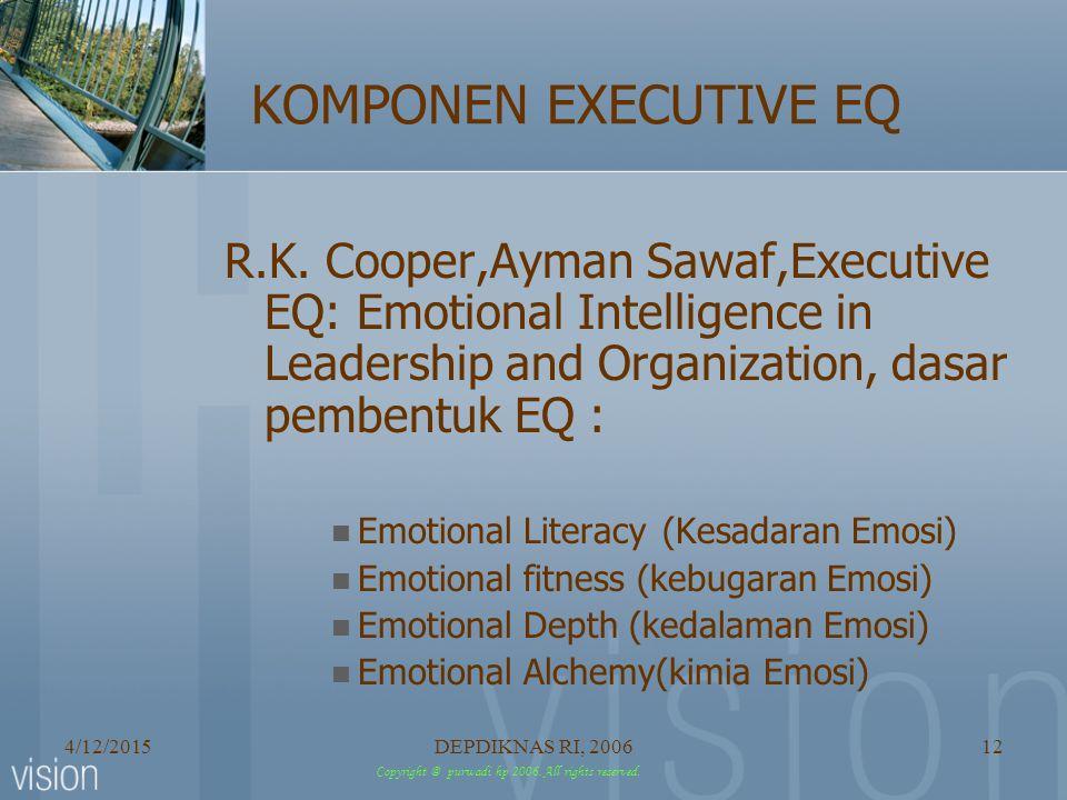 KOMPONEN EXECUTIVE EQ R.K. Cooper,Ayman Sawaf,Executive EQ: Emotional Intelligence in Leadership and Organization, dasar pembentuk EQ :