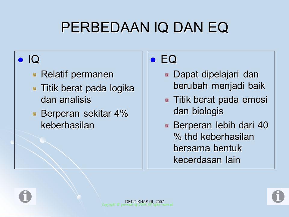 PERBEDAAN IQ DAN EQ IQ EQ Relatif permanen