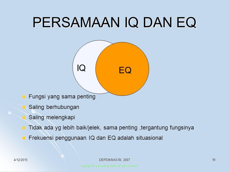 PERSAMAAN IQ DAN EQ IQ EQ Fungsi yang sama penting Saling berhubungan
