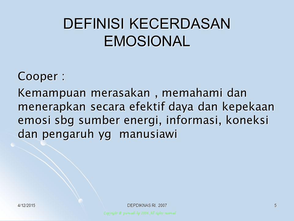 DEFINISI KECERDASAN EMOSIONAL