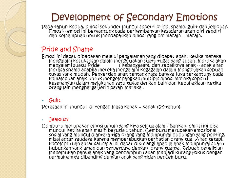 Development of Secondary Emotions