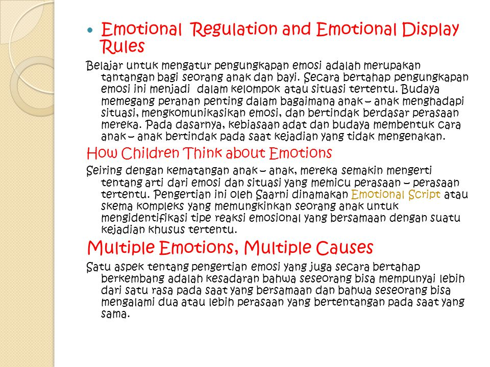 Emotional Regulation and Emotional Display Rules