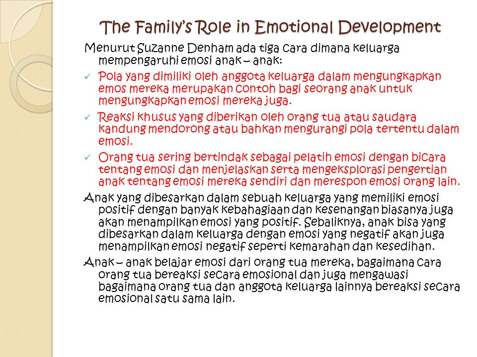 The Family's Role in Emotional Development