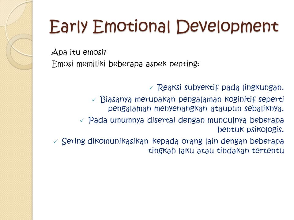 Early Emotional Development