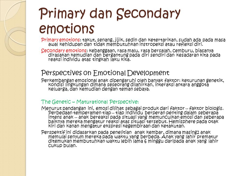Primary dan Secondary emotions