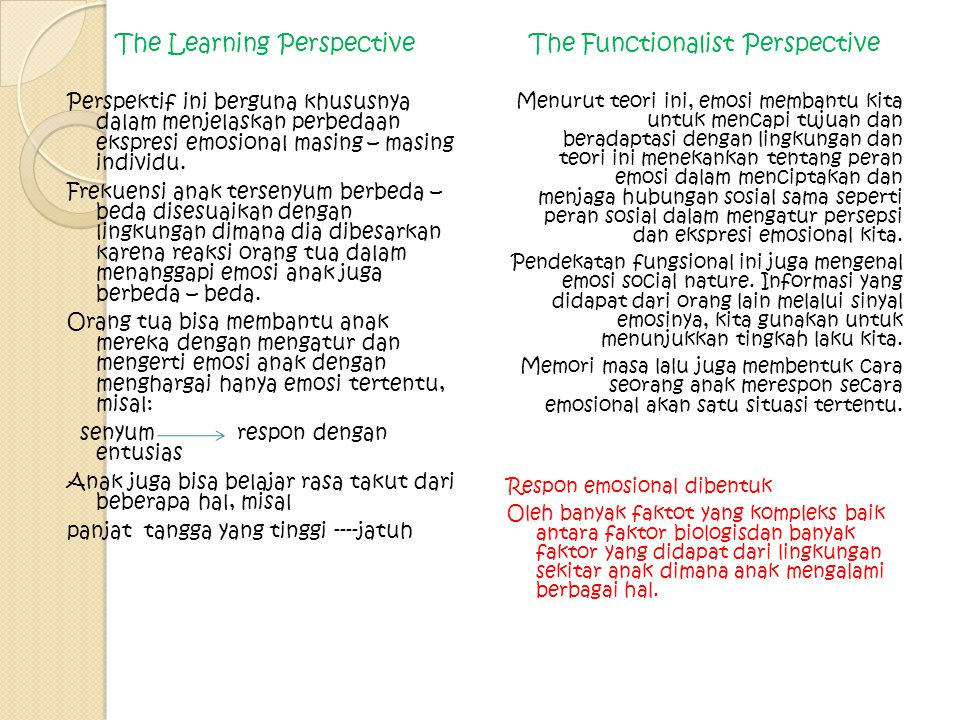 The Learning Perspective The Functionalist Perspective