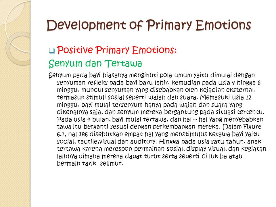 Development of Primary Emotions