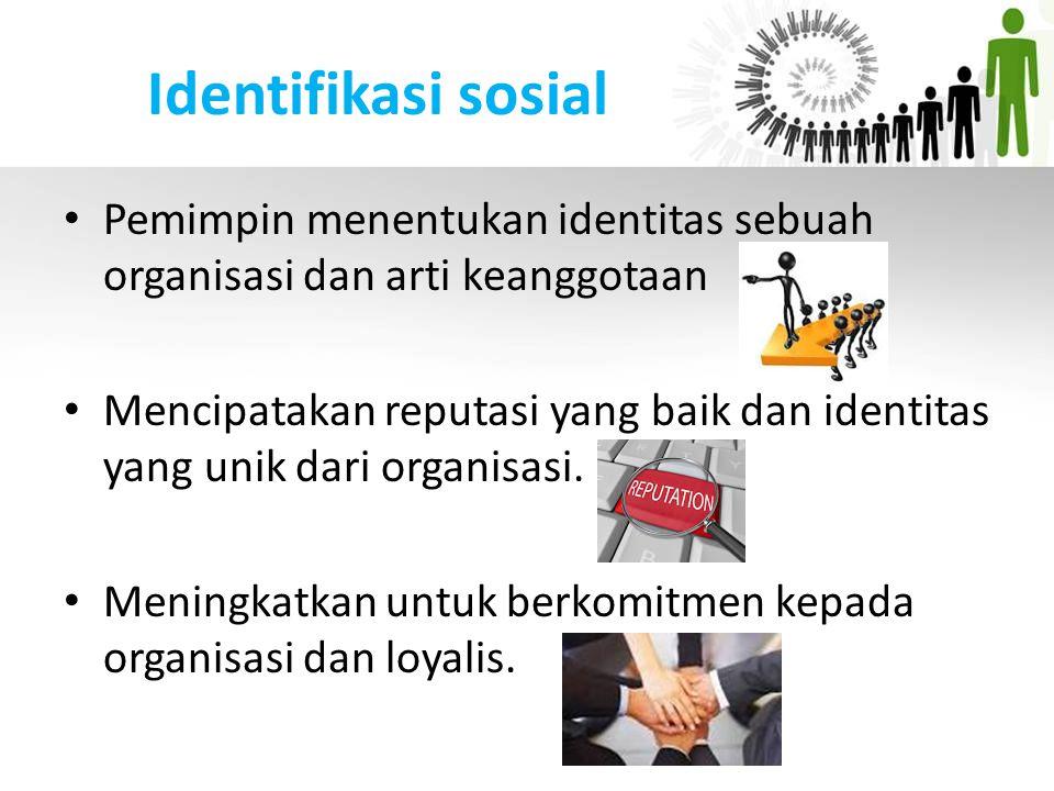 Identifikasi sosial Pemimpin menentukan identitas sebuah organisasi dan arti keanggotaan.
