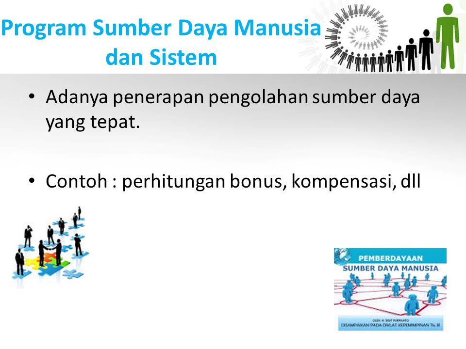 Program Sumber Daya Manusia dan Sistem