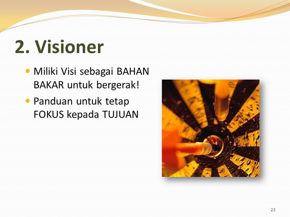 2. Visioner Miliki Visi sebagai BAHAN BAKAR untuk bergerak!