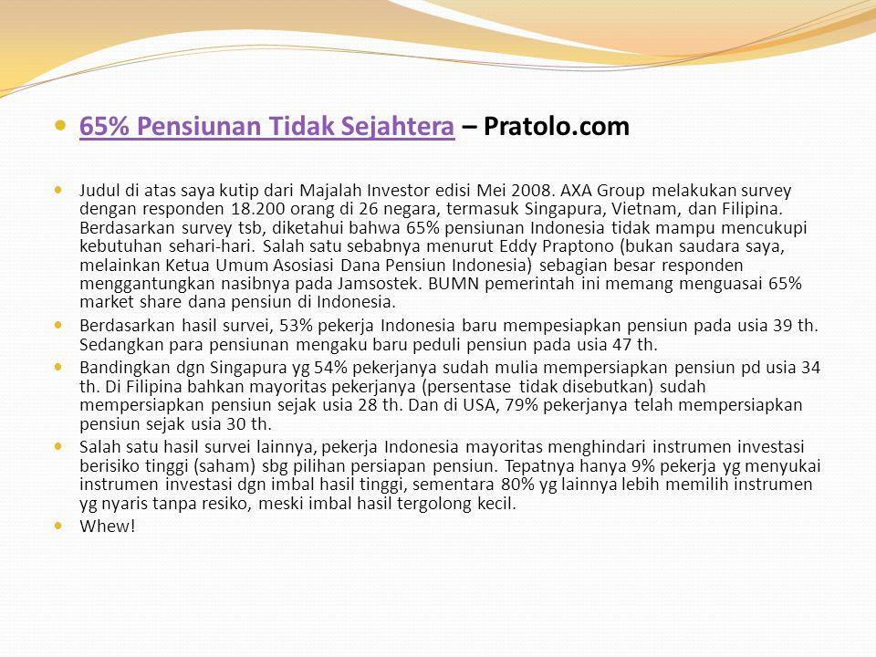 65% Pensiunan Tidak Sejahtera – Pratolo.com