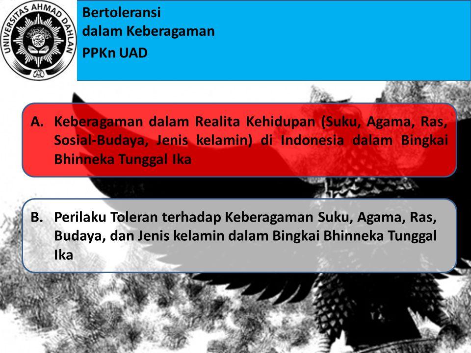 Keberagaman dalam Realita Kehidupan (Suku, Agama, Ras, Sosial-Budaya, Jenis kelamin) di Indonesia dalam Bingkai Bhinneka Tunggal Ika