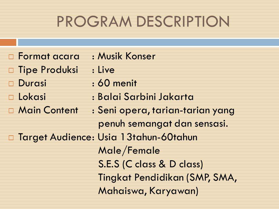 PROGRAM DESCRIPTION Format acara : Musik Konser Tipe Produksi : Live