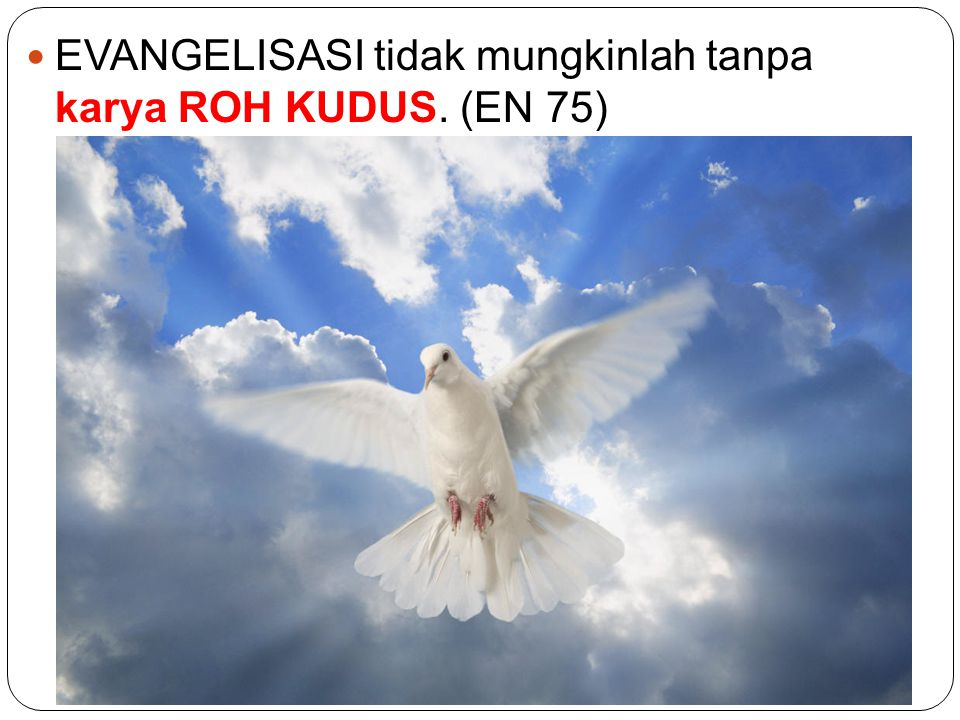 EVANGELISASI tidak mungkinlah tanpa karya ROH KUDUS. (EN 75)