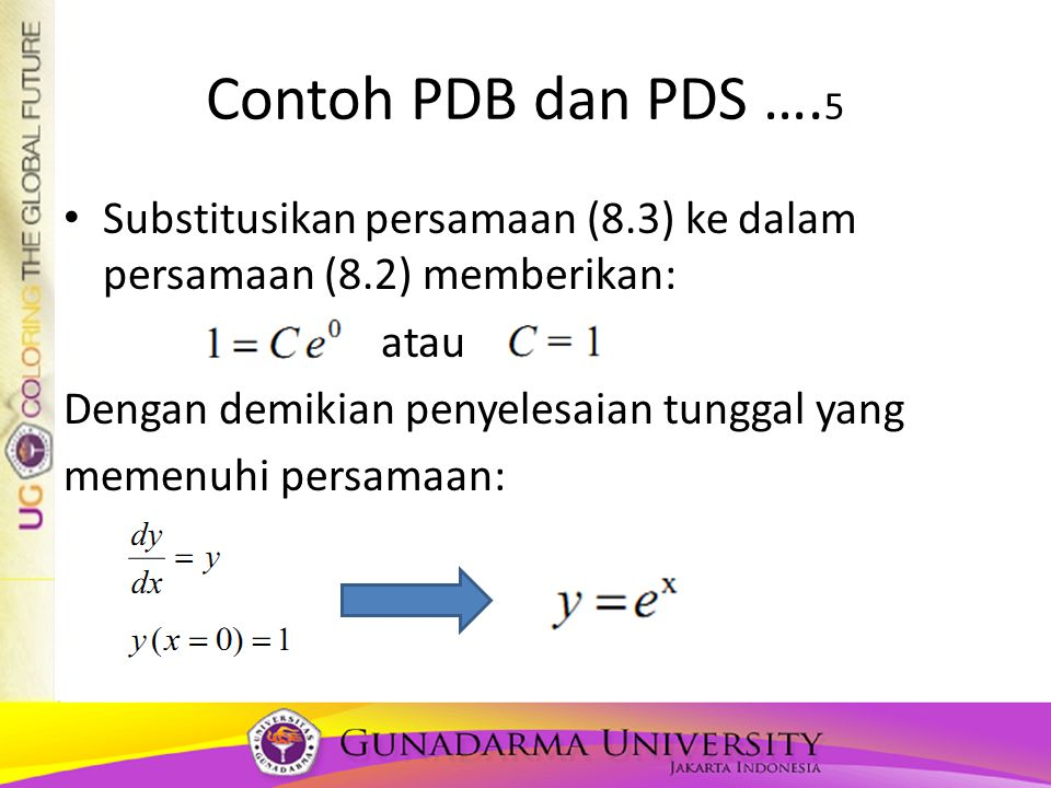 Contoh PDB dan PDS ….5 Substitusikan persamaan (8.3) ke dalam persamaan (8.2) memberikan: atau. Dengan demikian penyelesaian tunggal yang.