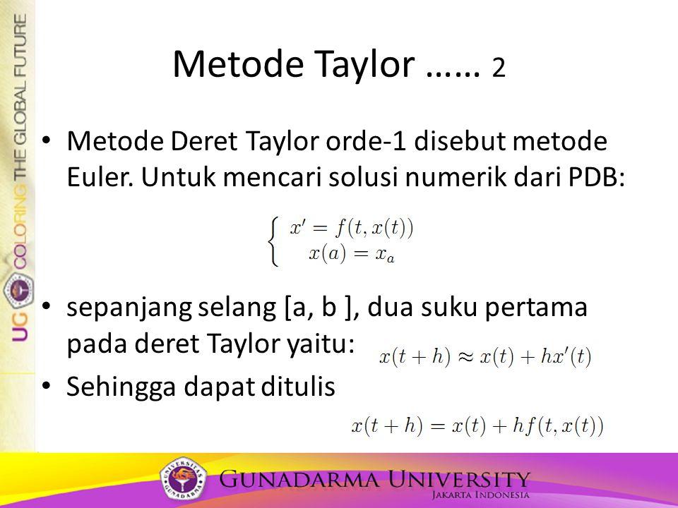 Metode Taylor …… 2 Metode Deret Taylor orde-1 disebut metode Euler. Untuk mencari solusi numerik dari PDB: