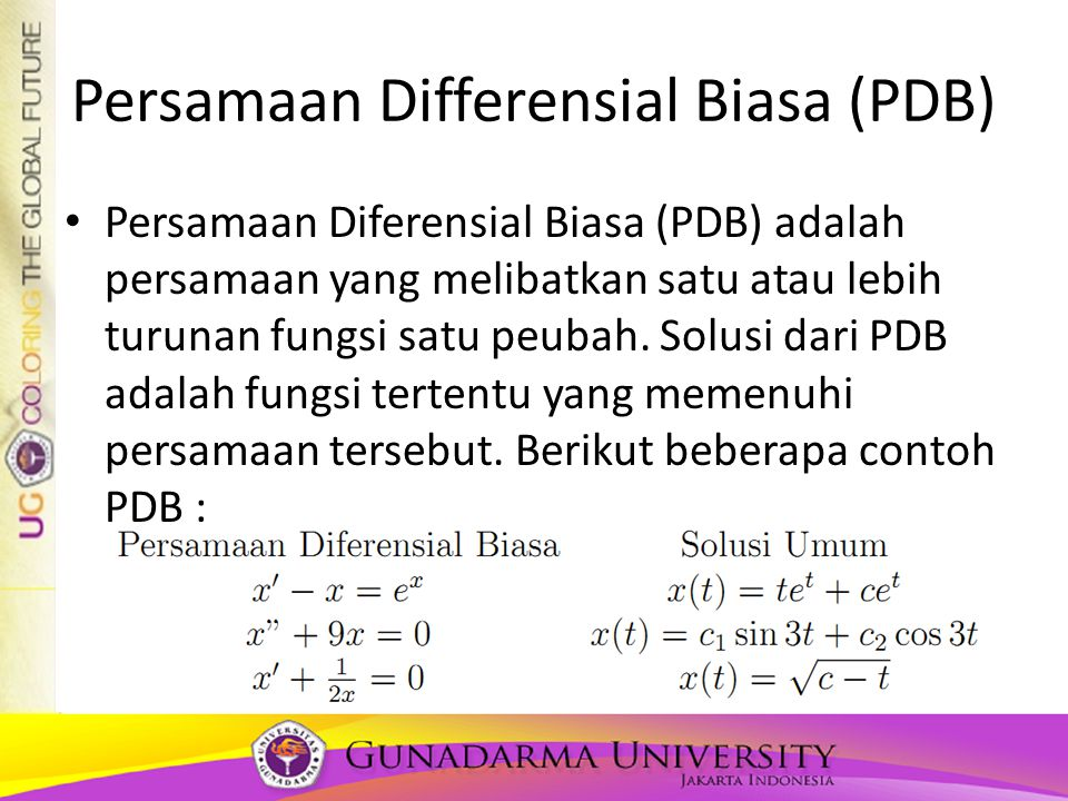 Persamaan Differensial Biasa (PDB)