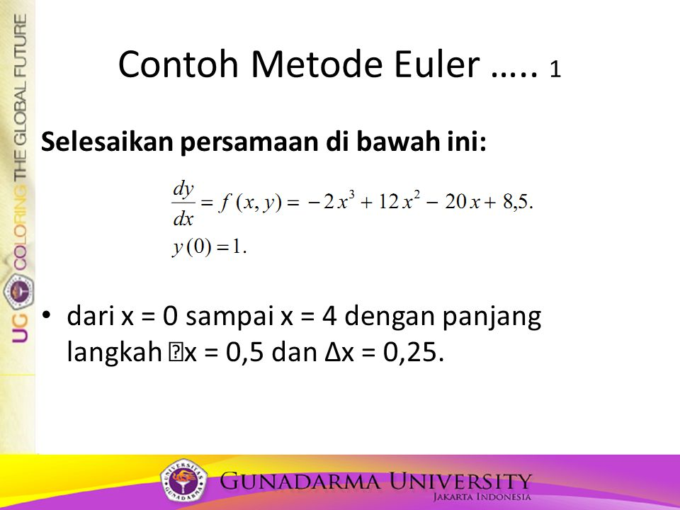 Contoh Metode Euler ….. 1 Selesaikan persamaan di bawah ini: