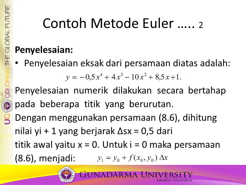 Contoh Metode Euler ….. 2 Penyelesaian: