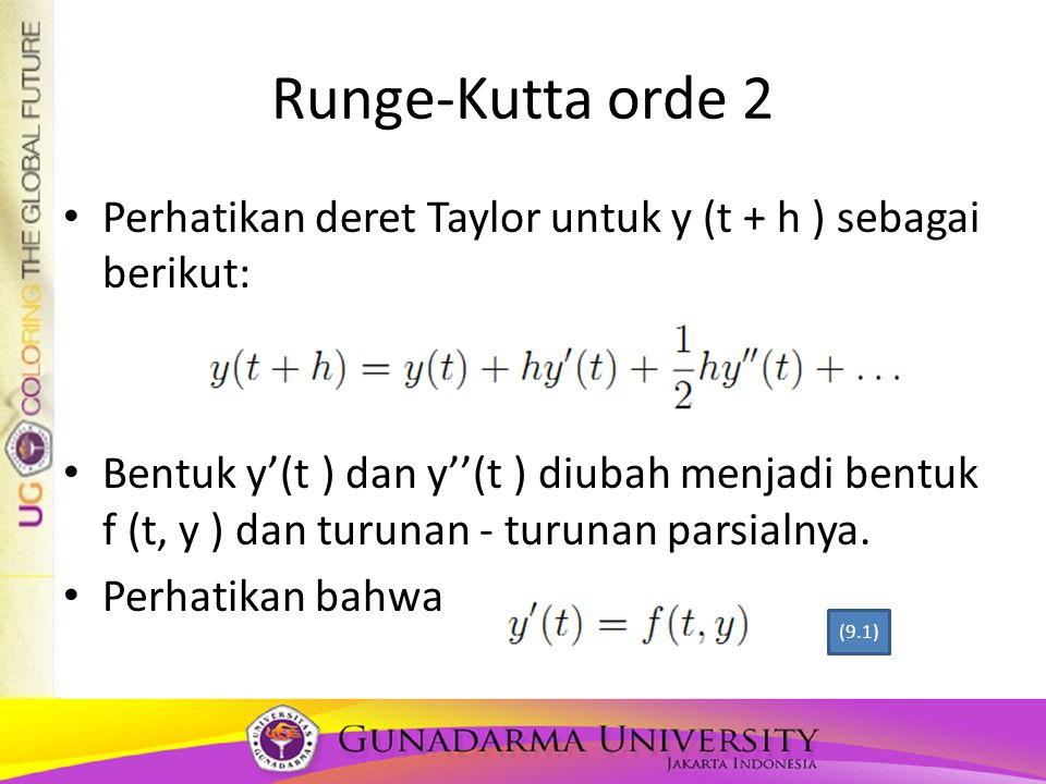 Runge-Kutta orde 2 Perhatikan deret Taylor untuk y (t + h ) sebagai berikut: