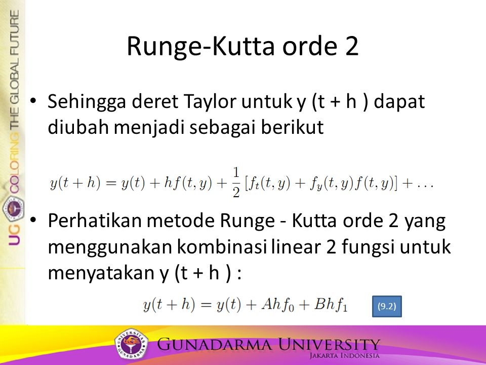 Runge-Kutta orde 2 Sehingga deret Taylor untuk y (t + h ) dapat diubah menjadi sebagai berikut.