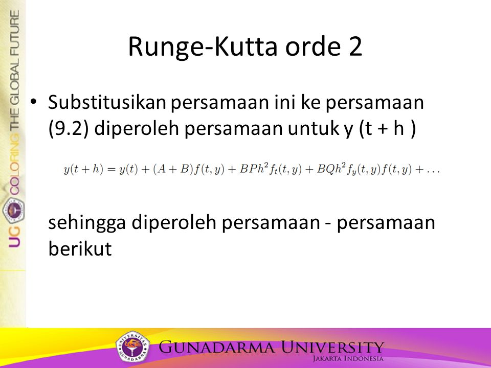 Runge-Kutta orde 2 Substitusikan persamaan ini ke persamaan (9.2) diperoleh persamaan untuk y (t + h )