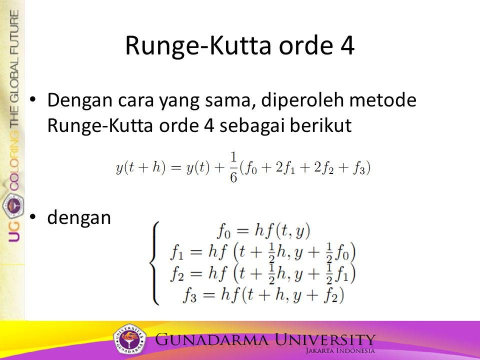 Runge-Kutta orde 4 Dengan cara yang sama, diperoleh metode Runge-Kutta orde 4 sebagai berikut.