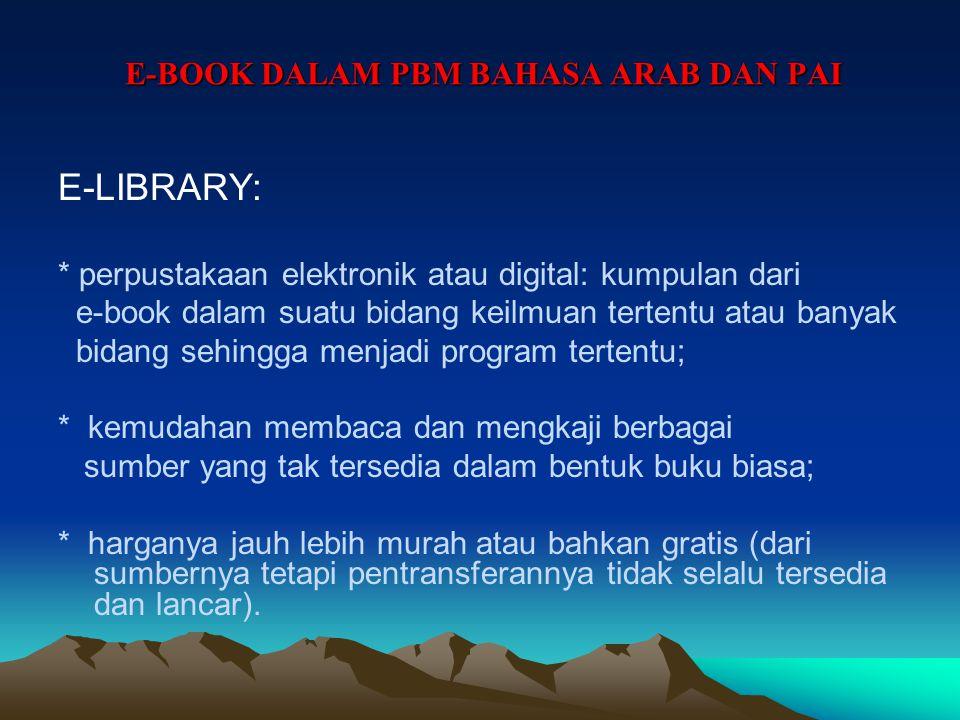 E-BOOK DALAM PBM BAHASA ARAB DAN PAI