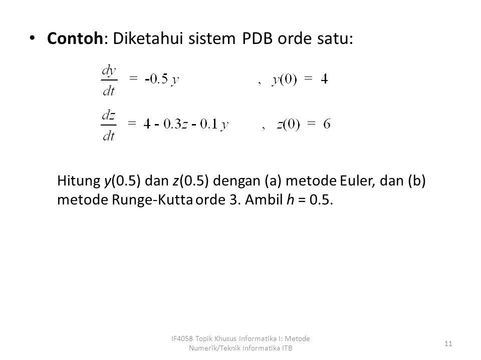 Contoh: Diketahui sistem PDB orde satu: