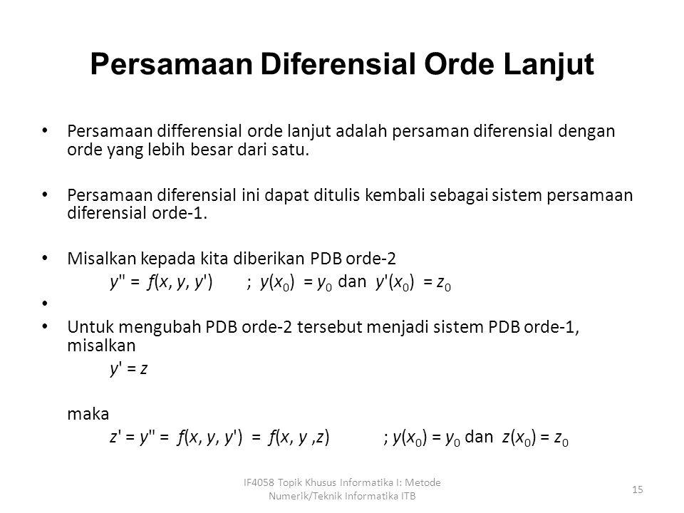 Persamaan Diferensial Orde Lanjut