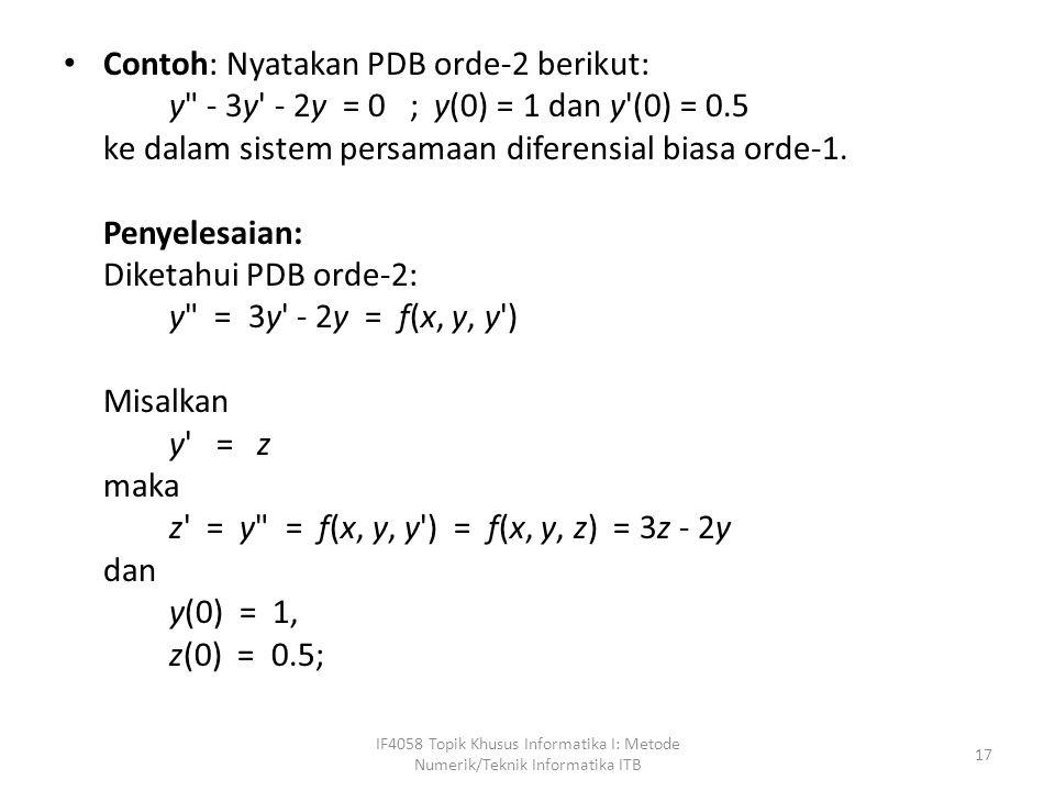 Contoh: Nyatakan PDB orde-2 berikut: