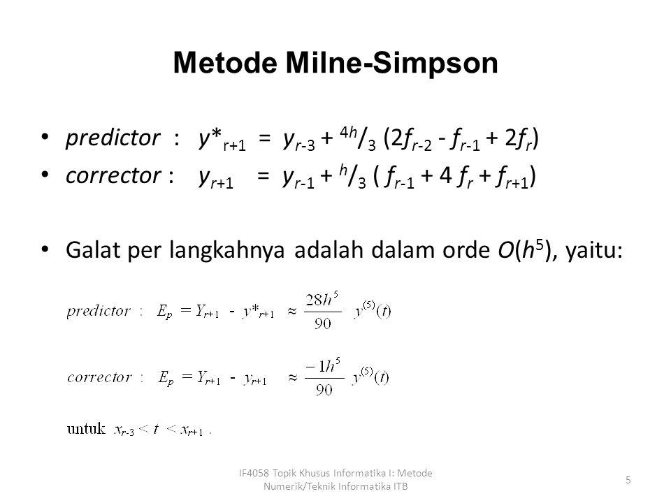 Metode Milne-Simpson predictor : y*r+1 = yr-3 + 4h/3 (2fr-2 - fr-1 + 2fr) corrector : yr+1 = yr-1 + h/3 ( fr-1 + 4 fr + fr+1)