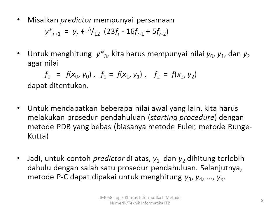 Misalkan predictor mempunyai persamaan