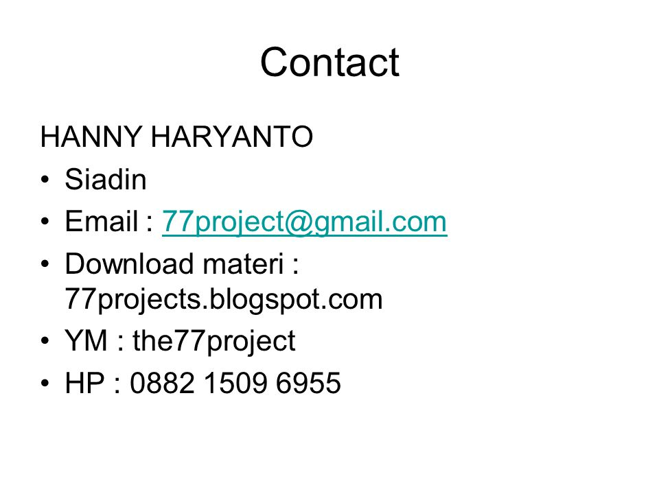 Contact HANNY HARYANTO Siadin