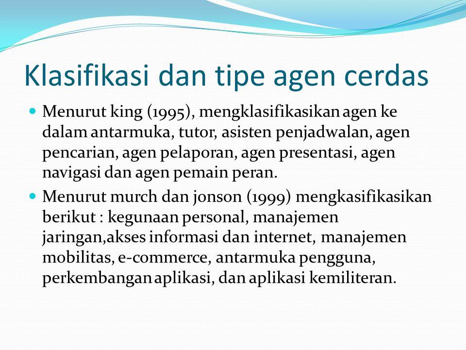 Klasifikasi dan tipe agen cerdas