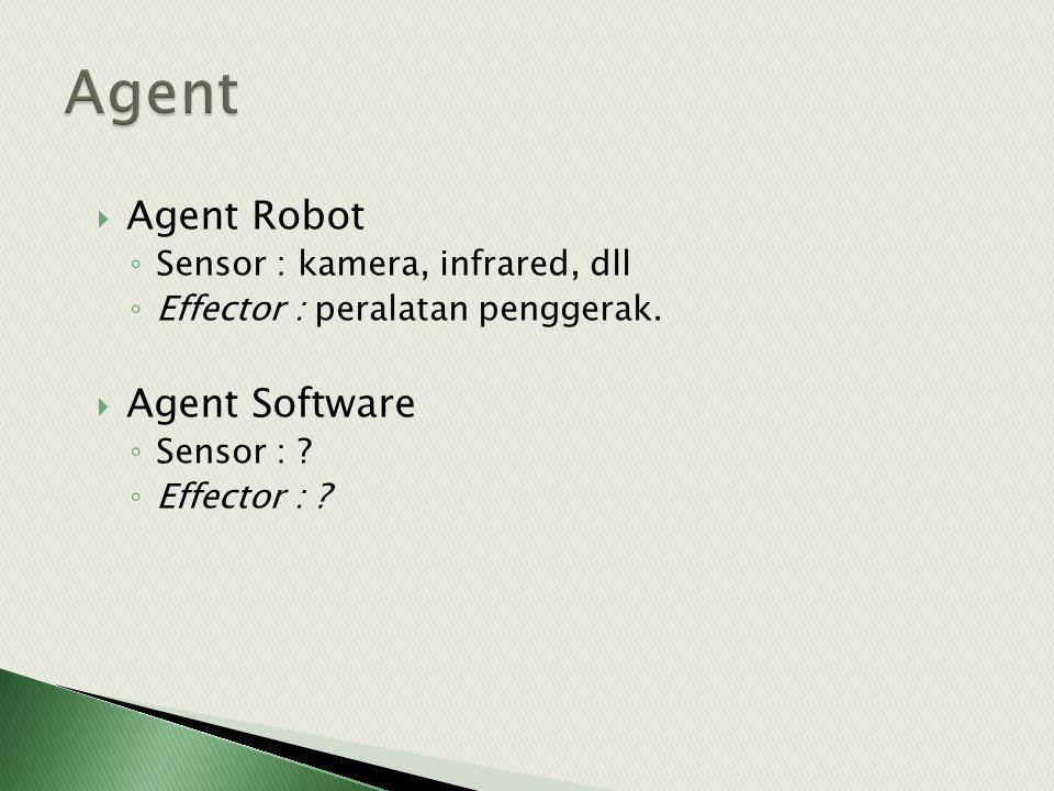 Agent Agent Robot Agent Software Sensor : kamera, infrared, dll
