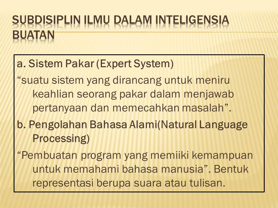 SubDisiplin Ilmu dalam Inteligensia Buatan