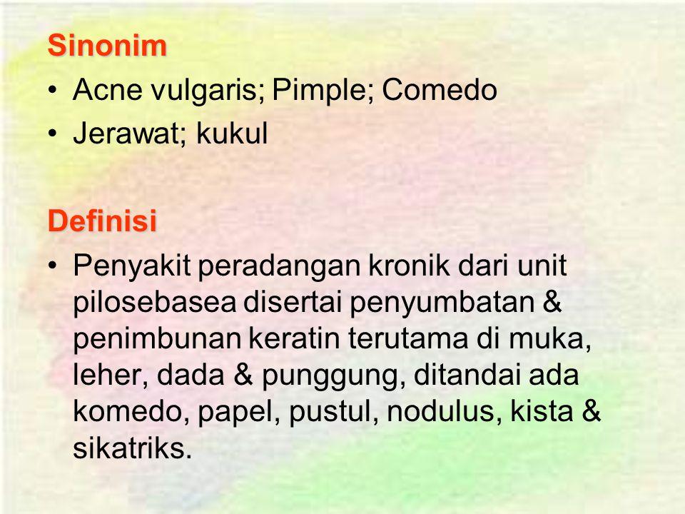 Sinonim Acne vulgaris; Pimple; Comedo. Jerawat; kukul. Definisi.