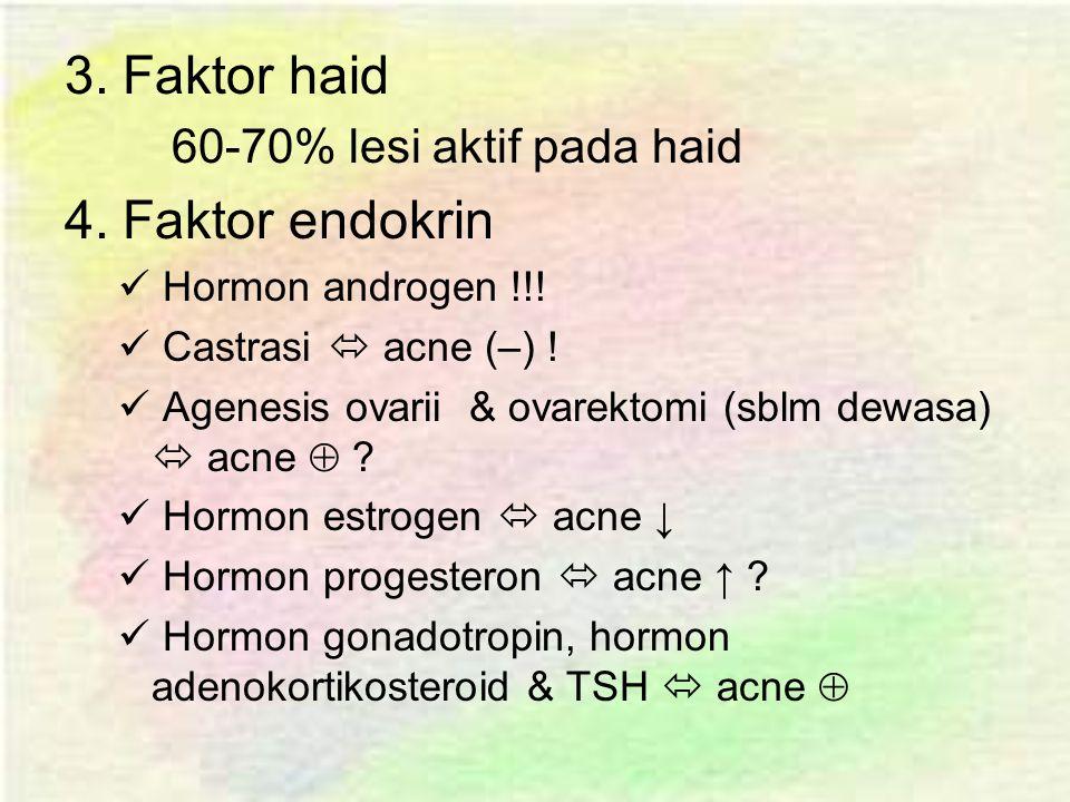 3. Faktor haid 4. Faktor endokrin 60-70% lesi aktif pada haid