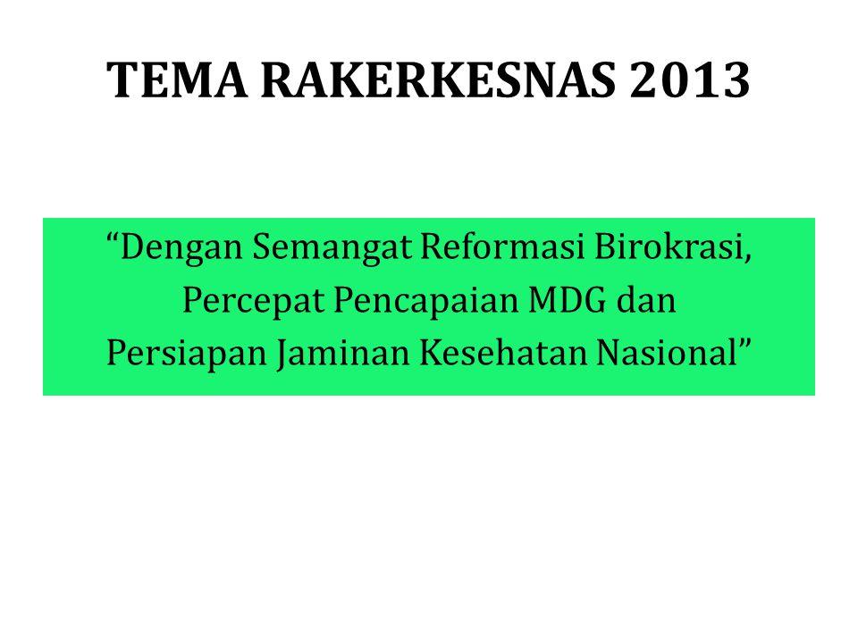 TEMA RAKERKESNAS 2013 Dengan Semangat Reformasi Birokrasi, Percepat Pencapaian MDG dan Persiapan Jaminan Kesehatan Nasional