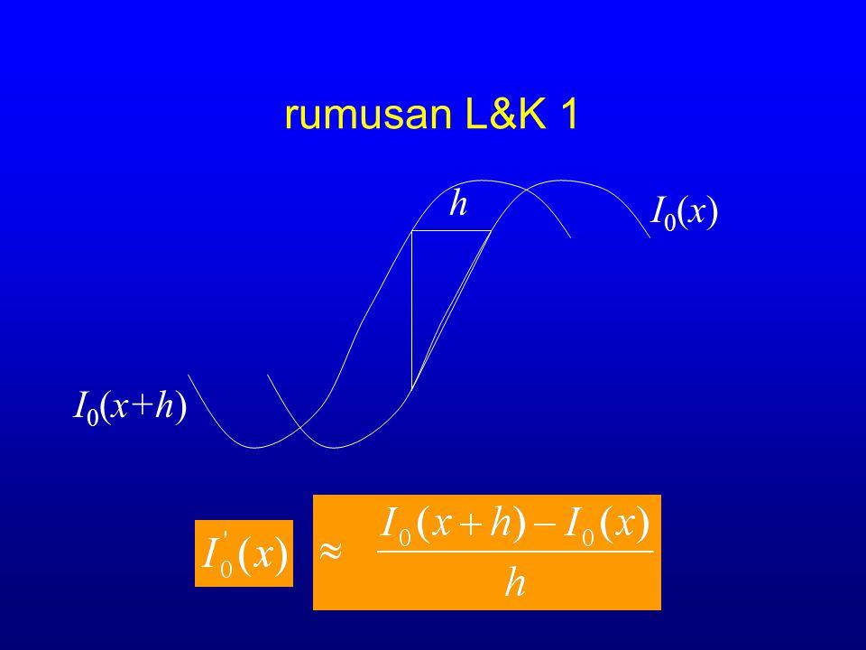 rumusan L&K 1 I0(x+h) h I0(x)