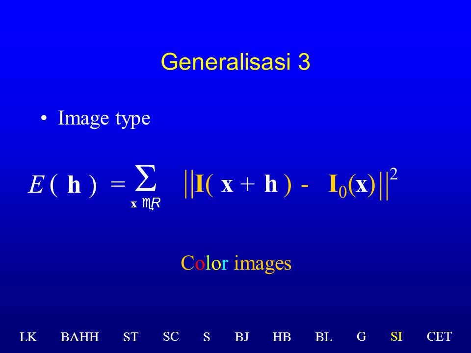S || || E ( h ) = I ( x + h ) - I0 ( x ) 2 Generalisasi 3 Image type
