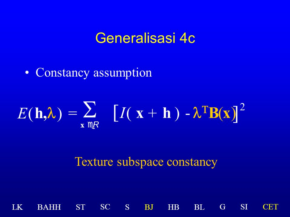 Texture subspace constancy