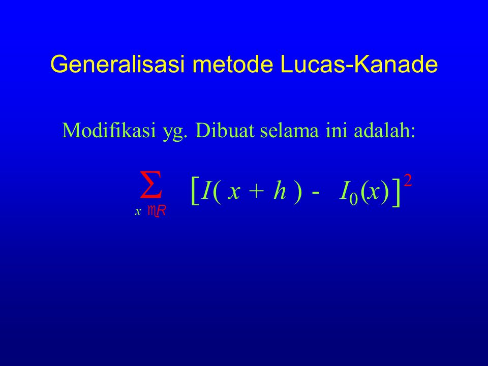Generalisasi metode Lucas-Kanade