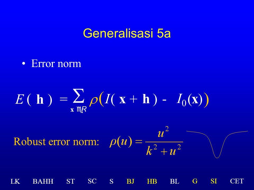 S ( ) E ( h ) = r I ( x + h ) - I0 ( x ) Generalisasi 5a Error norm